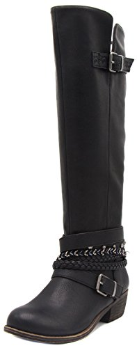 Sugar Women's Tia Tall Shaft Riding Boot with Buckles and Woven Wraparounds 8.5 Black (Buckle Around Wrap)