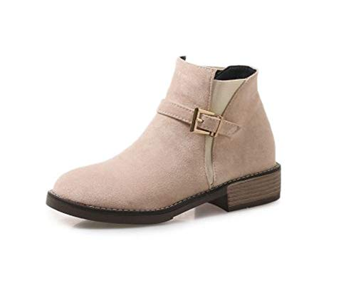 (Women's Western Round Toe Slip on Bootie Low Stack Heel Casual Buckle Ankle Boots(Pink-40/8-8.5 B(M) US Women))