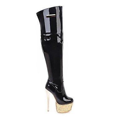 Heart&M Mujer Zapatos PU microfibra sintético Cuero Patentado Otoño Invierno Gladiador Botas de Moda Botas Tacón Stiletto Plataforma Dedo redondo