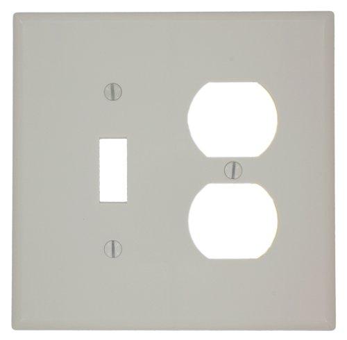 Leviton 80505-T 2-Gang 1-Toggle 1-Duplex Device Combination Wallplate, Midway Size, Light Almond