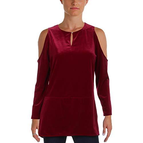 LAUREN RALPH LAUREN Womens Velvet Cold Shoulder Blouse Purple XS (Womens Ralph Lauren Sale)