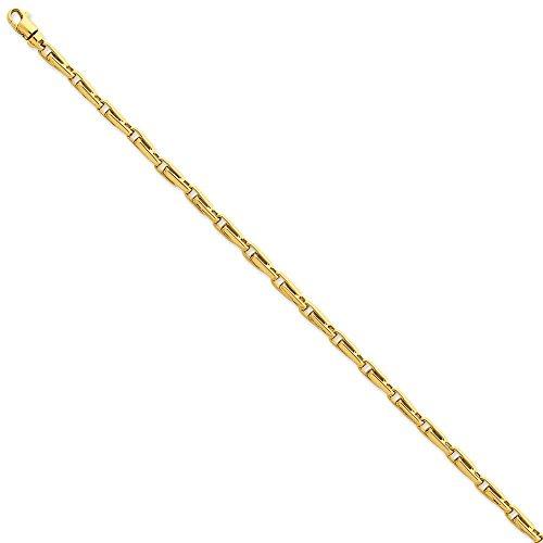 3,7 mm poli 14 carats fantaisie Bracelet lien - 21 cm-Fermoir mousqueton-JewelryWeb