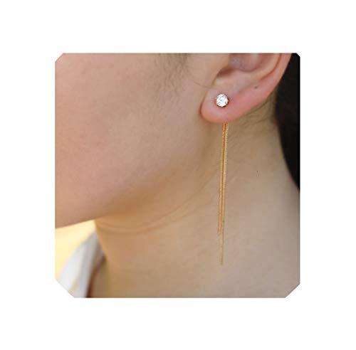 Fashion Silver Plated Dangle Hanging Gem Stone Rhinestone Long Drop Earrings For Women Jewelry,Gold ()