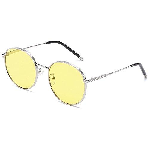 de Redondas Sol círculo UV400 Steampunk para Mujer Bmeigo metálico amarillo Gafas Retro Lentes Unisex Hombre 5qwxgT