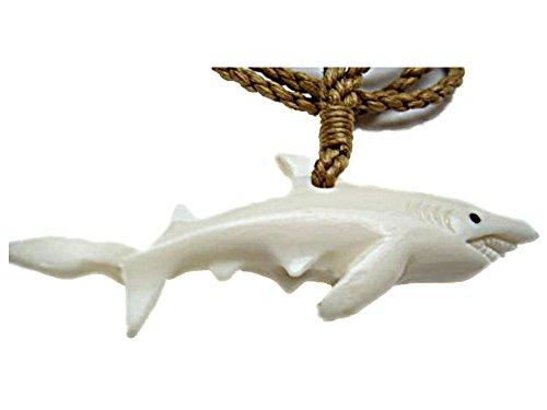 - HAWAIIAN MAORI STYLE BONE GREAT WHITE SHARK MANO NECKLACE CHOKER