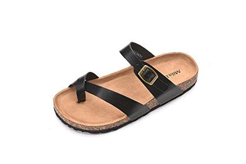 Mila Lady Womens Summer Comfortable Strappy Flip Flops Cork Sole Slide Flat Sandals, Vanessa Black Size 5.5 -