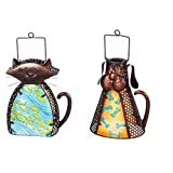 Evergreen Garden Cat and Dog Shaped Solar Metal and Glass Lanterns, Set of 2