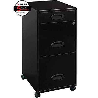 "Lorell LLR17427 SOHO Mobile Cabinet, 21.80"" L x 14.3"" W x 18.00"" H, Black"