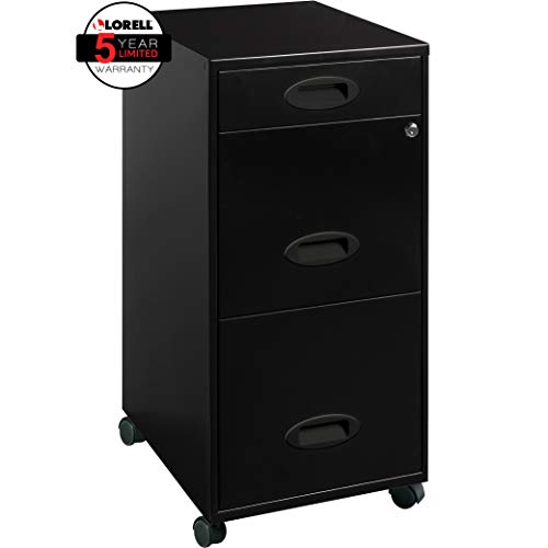 "Lorell 17427 3-Drawer Mobile File Cabinet, 18"", 21.80"" L x 18.00"" W x 33.10"" H, Black"