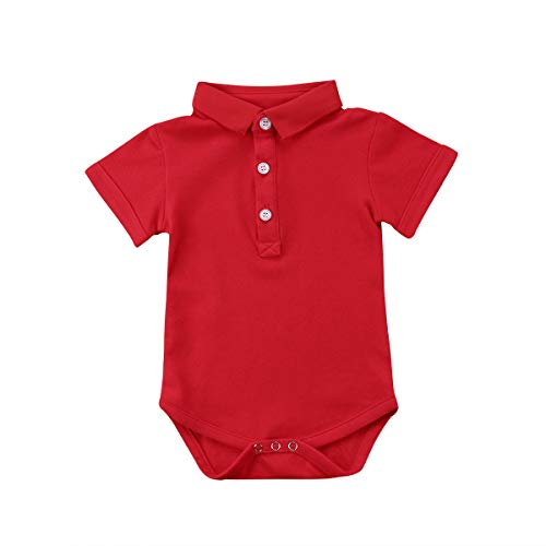 Newborn Baby Boy Girls' One Piece Romper Cute Polo Bodysuit Jumpsuit Baby Summer Outfit (Red, 0-3 Months) (Newborn Polo Bodysuit)
