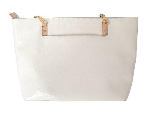 Michael Kors White MK Mirror Metalic Leather Jet Set EW Chain Tote Shoulder Handbag