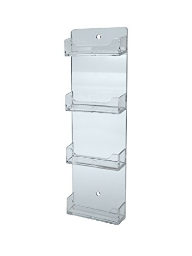 Marketing Holders Lot of 12 Clear 4 Pocket Business Card Holder Horizontal Wall Mount