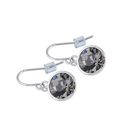 UPSERA Dangle Drop Earrings Made with Swarovski Crystals Silver Tone Hypoallergenic Jewelry for Women Girls – Black