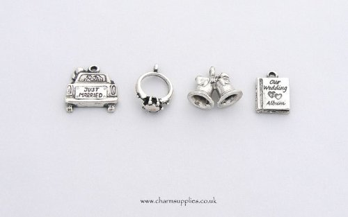 (Wedding Theme Charms - Silver Plated - Set of 4)