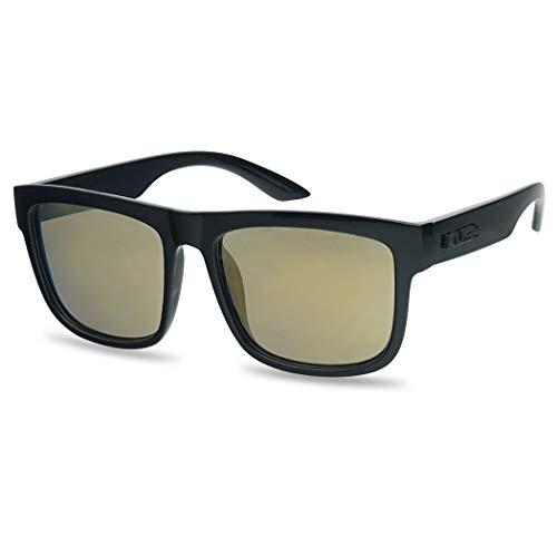 Kush Classic Square Transparent Frame Sunglasses Mirrored Retro Sport Fashion Shades (Black Frame | Bronze)