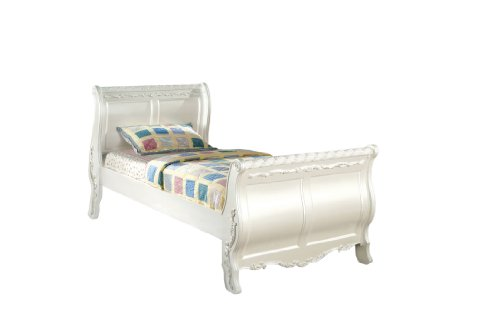 Furniture of America Nathalia Fairy Tale Style Sleigh Bed, Twin, Pearl White Finish (Sleigh Pearl)