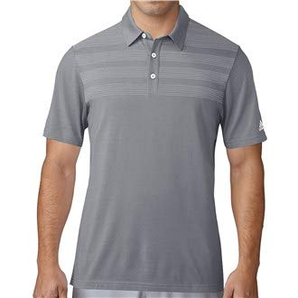 (adidas Mens Golf Climacool 3-Stripes Mapped Shortsleeved Golf Polo Shirt Mid Grey Large)