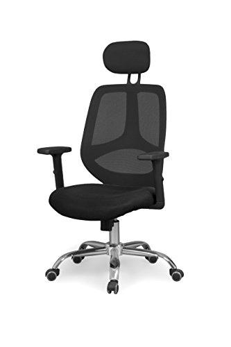 duehome Silla de Oficina ergonomica, Silla para Escritorio o Estudio, Medidas: 62,5x114x59 cm Color Negro