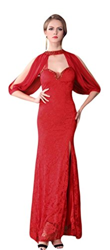 Gowns Dress 3 Neck Prom Sexy Cocktail Formal Red High 4 Lace Party Evening Sleeve T7Hfqx