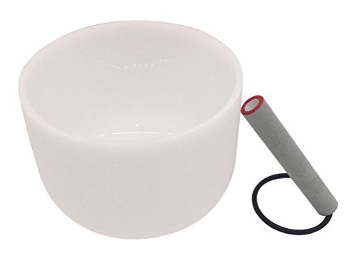 Kindian Frosted A Note Third Eye Sixth Chakra Buddhist Quartz Crystal Singing Bowl Meditation Yoga Singing Bowls Set with Mallet and Rubber Base Ring,8 Inch,White (9inch) ()