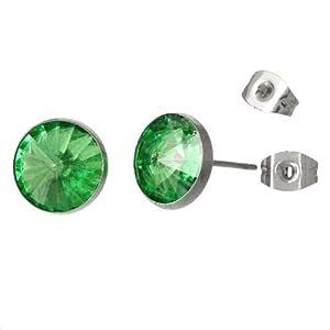 Pendientes de tuerca redondos de acero inoxidable con diamantes de imitación verdes facetados de 11 mm para mujer y hombre