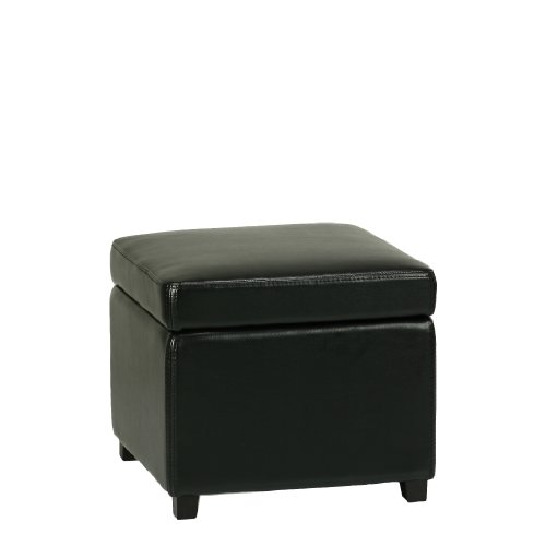 [Cortesi Home Massimo Bonded Leather Storage Ottoman with Hinged Top, Jet Black] (Pottery Barn Leather Ottoman)