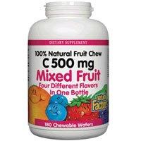 Natural factors vitamin c mixed fruit chewables 500mg 180 tabs (2-Pack)