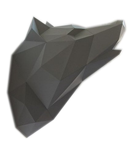 Geometric DIY Paper Assembly Kit Grey Wolf 3D Wall Trophy, Decorative Art Display for Children and Adults - 18 x 11 x 15 Inches