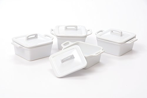 Small Square Baking Dish - O-Ware White Stoneware Mini Square Baker with Lid, Set of 4