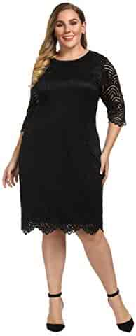 5bb25f029ae Chicwe Women s Stretch Lined Plus Size Lace Shift Dress Knee Length with Scalloped  Hem and Cuff