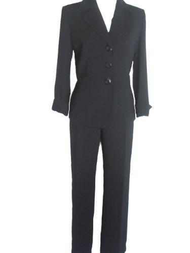 LE SUIT Women's 2-PC Jacket/Pants Suit-BLACK-8