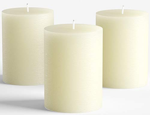 """Set of 3 Ivory Pillar Candles 3"""" x 4"""" Rustic Unscented Dripless for Weddings Home Decoration Church Restaurant Spa Florist Smokeless"""