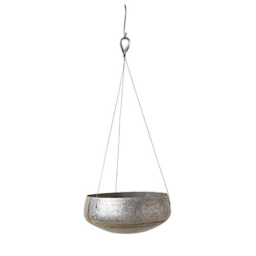 Creative Co-op DA7381 Galvanized Metal Hanging Planter, 11 Inch Round, Grey and Gold