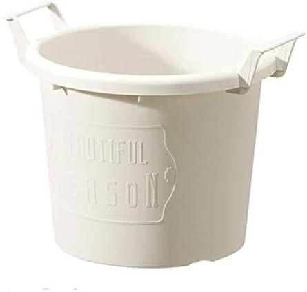 グロウコンテナ24型(直径24cm)ホワイト 2個セット[持ち手付きのおしゃれなプラ鉢]