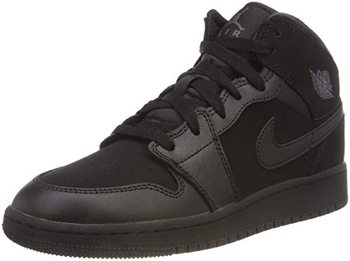 Nike Jordan Kids Air Jordan 1 Mid (GS) Black/Dark Grey/Blk Basketball Shoe 6 Kids US