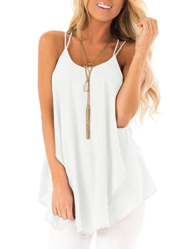 (PINKMSTYLE Womens Summer Flowy Cami Sleeveless Round Neck Spaghetti Strap Tank Tops Loose Fit Sheer Chiffon Blouse Shirts White XX-Large)