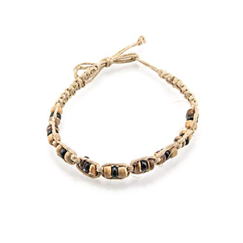 (BlueRica Hemp Anklet Bracelet with Tiger and Black Coconut Wood Beads )