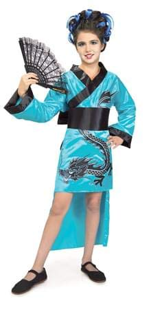 Child's Teal Dragon-Lady Costume, Large ()