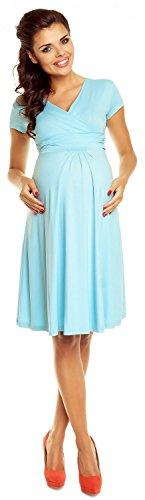 Zeta Ville - De Las Mujeres Maternidad Envolver V-cuello Verano Vestido - Corto Mangas - 108C Azul Claro