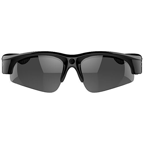 Camera on Glasses - 1080P Video Sunglasses with Camera | Wide Angle View, UV Protection Eyewear,Lightweight Frame,Unisex Design - for Sports,Riding,Fishing,Motorcycle (Black E6)