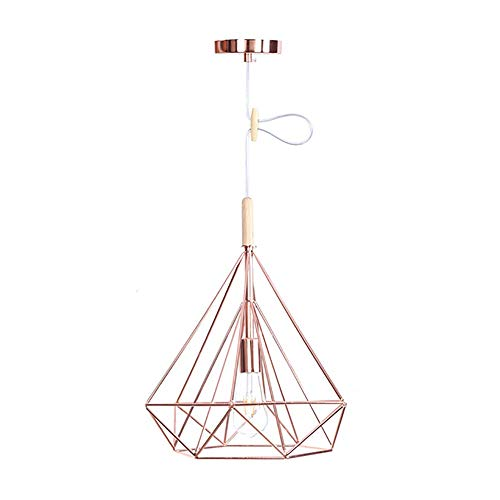 Bright vestibule Iron Rose Gold Chandelier American Country Simple Decorative Lighting Bedroom Living Room Aisle Single Crystal Wood Small Chandelier (Size : S) ()