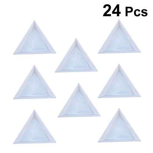 (SUPVOX 24pcs Triangular Jewelry Picking Plates Tray Dish for Rhinestones Beads Jewelry Tools Jewelry Findings White)