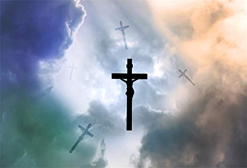 (AOFOTO 10x7ft Easter Cross in Sky Background Colored Clouds Happy Ostern Decoration Christian Crucifix Bible Story Jesus Resurrection Backdrop Photo Studio Props)