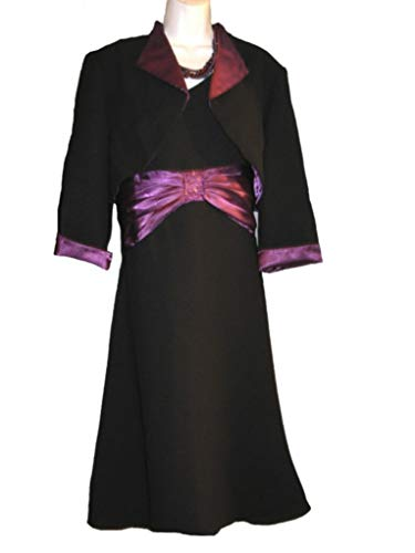 Coldwater Creek Occasions Evening Church Wedding Party Black Bolero Jacket Dress Size 14 / L$119 Necklace not Included