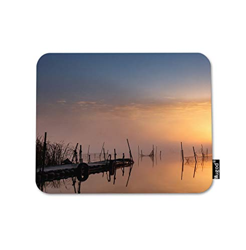 Mugod Landscape Mouse Pad Sunset Over Old Deck Pier Calm Water Lake Horizon Serenity Gaming Mouse Mat Non-Slip Rubber Base Mousepad for Computer Laptop PC Desk Office&Home Working 9.5x7.9 Inch