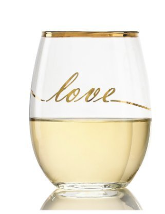 Luminarc Wine Glasses 17 Ounce Real Gold Rim Luxury Design With Real Gold ''LOVE'' Wine Glass Cachet/Perfection Stemless Red Wine Glasses, (Real Gold Luxury LOVE Design 6 Glasses Box - Gold)