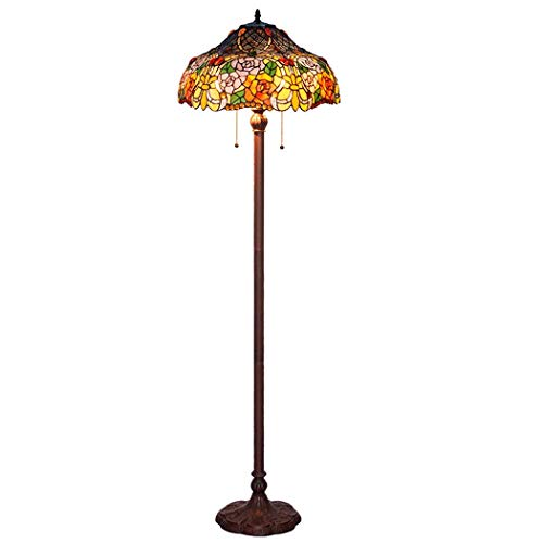 DSHBB Floor Lights, 18 inch Color Rose Tiffany Style Floor lamp with Stained Glass lampshade, Contemporary Bright Reading Lamp for Living Room, Office, E27 40W (Rose Light Glass Pendant)