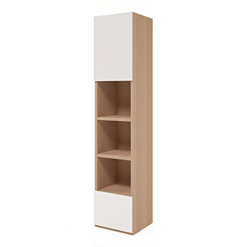 Multimo A207.1LWL Contemporary Convertible Cabinet Bookcase, White Front-Wood Base