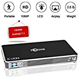 TOUMEI,Mini Portable Projector [2018 Upgarde] C800W Android 7.1 Video Projectors Max Throw 120