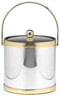 Kraftware Mylar Polished Chrome and Brass 3-Quart Ice Bucket with Brass Bale Handle, Bands and Metal Cover -